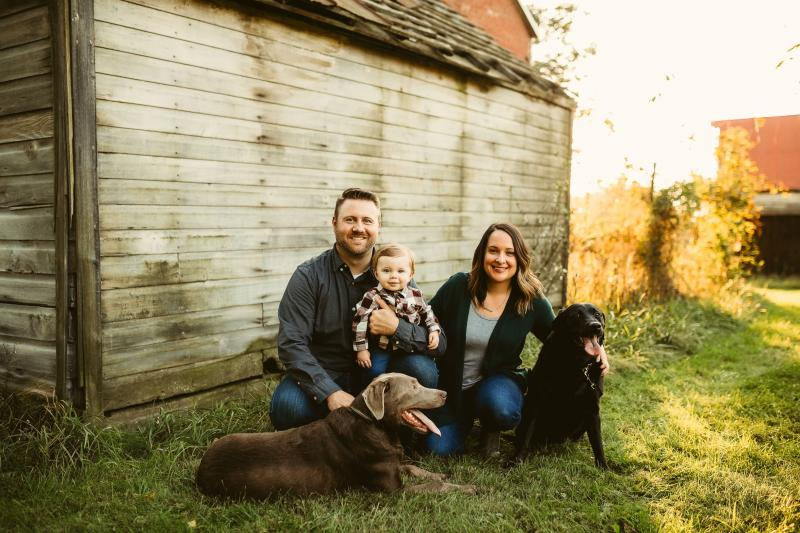 Brianne and her family, including her husband, son and family dog.